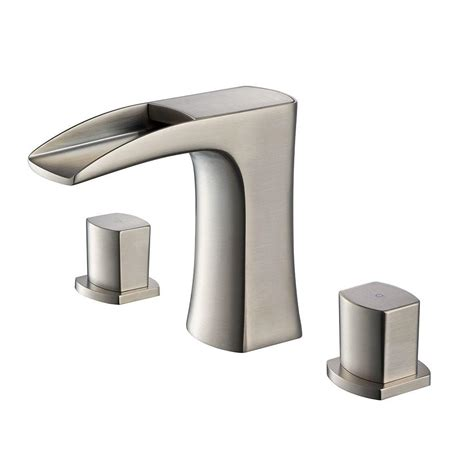 brushed nickel bathroom faucets home depot fresca fortore 8 in widespread 2 handle low arc bathroom