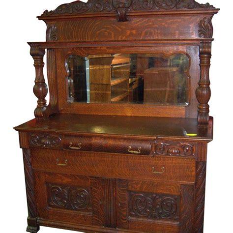 oak sideboard buffet mirror  carvings