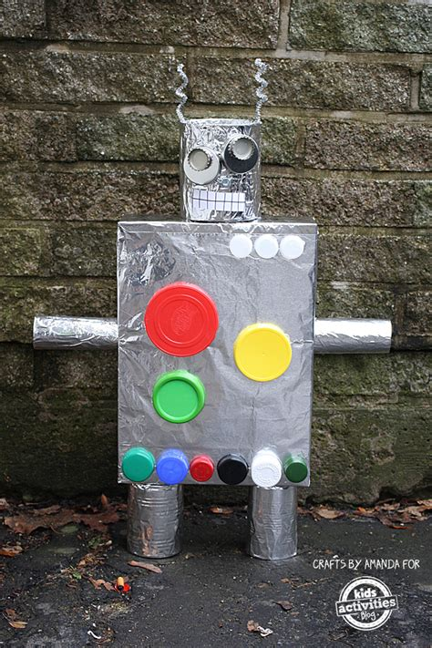 recycled crafts cereal box robot