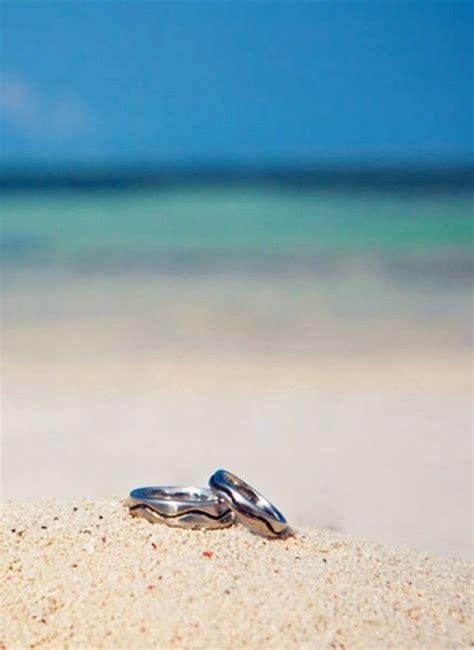 waves beach wedding rings white gold beach wedding