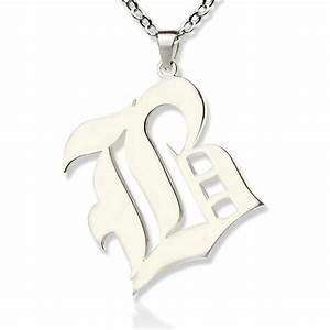 personalized initial letter charm old english sterling silver With old english letter pendants