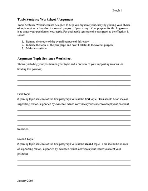 11 best images of topic sentence worksheets writing