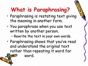 summarizing and paraphrasing With what is the meaning of template