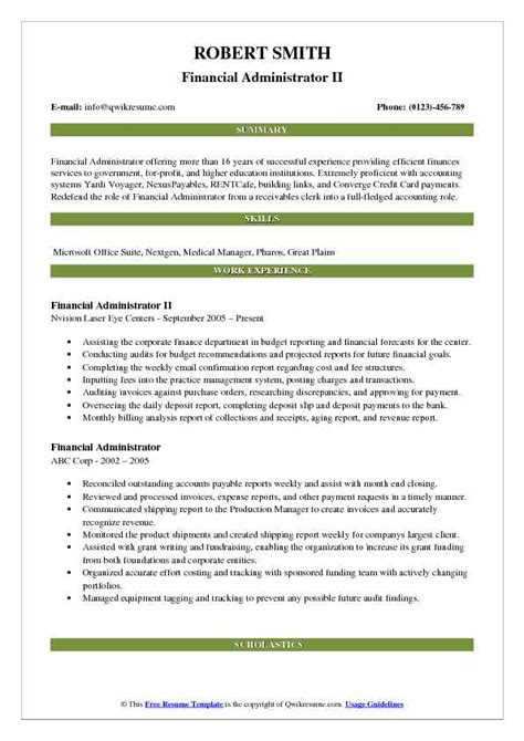 financial administrator resume samples qwikresume
