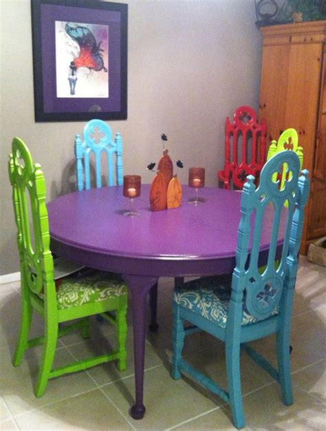 painting kitchen table and chairs different colors found the gothic church chairs and table at a garage sales