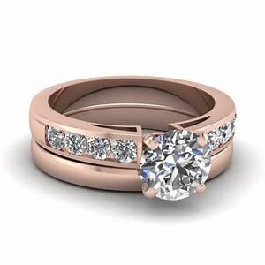 channel diamond handmade wedding ring sets jewelry in 14k With channel wedding ring sets