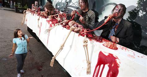 walking dead zombies billboard mirror blood entrails