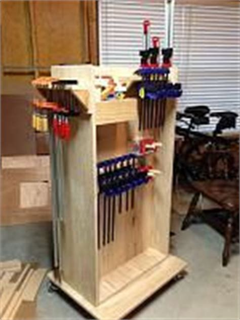 """This rolling clamp rack holds about 50 clamps, takes up minimal floor space and can be built in an afternoon. """"Small Shop"""" mobile clamp rack 