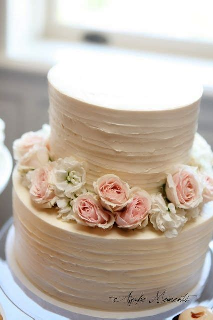 Simply Gorgeous Two Tier Wedding Cake With Rustic Flowers