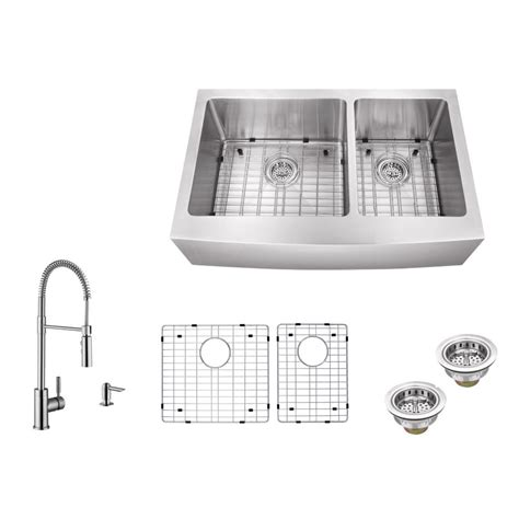 ipt sink company apron front 36 in 16 stainless steel bowl kitchen sink in brushed