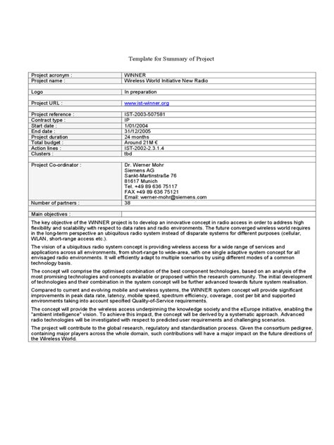 project summary template   templates   word