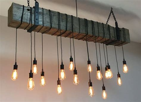 reclaimed wood beam light fixture chandelier  hanging