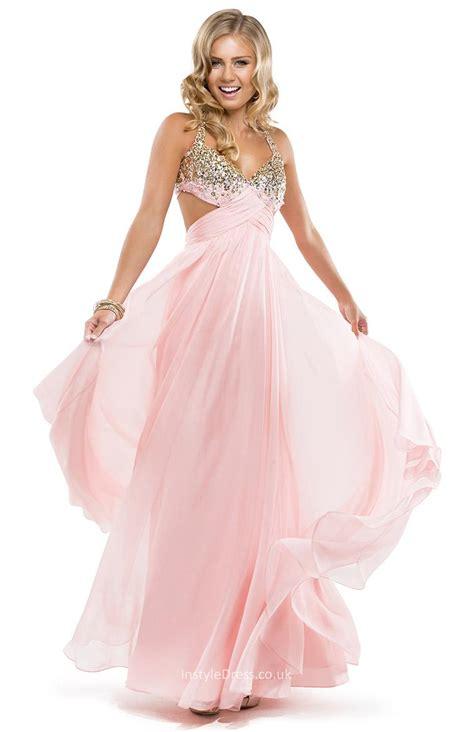 light pink prom dress light pink prom chiffon a line dress with beaded bust