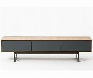 Meuble Tv 180 Cm : meuble tv design valeo ch ne et gris 180 cm tiroirs syst me push pull ~ Teatrodelosmanantiales.com Idées de Décoration