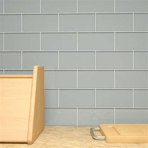 smoke grey glass subway tile    grey subway tile