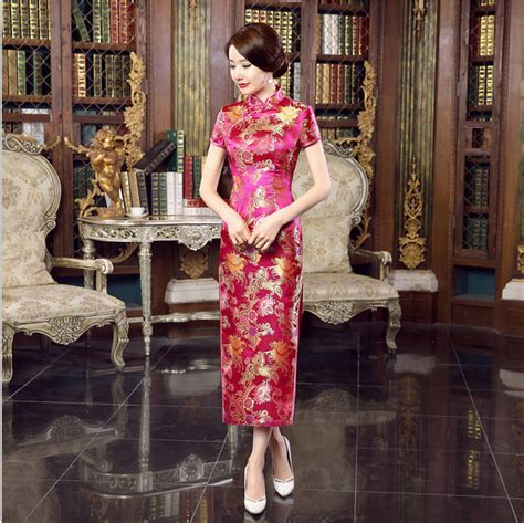 dresses 2018 new year cheongsam style thick warm new 2018 new arrival hot pink women satin cheongsam