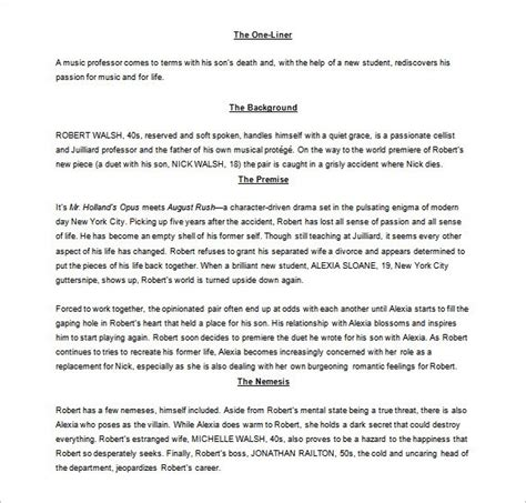 screenplay outline templates  excel