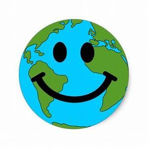 Happy Earth Smiley Face Classic Round Sticker   Zazzle