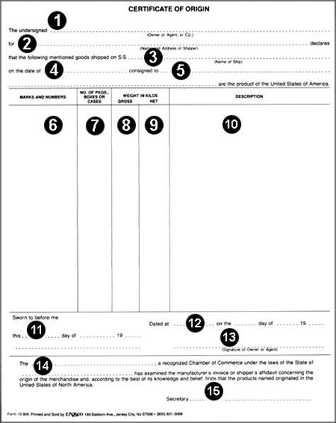 certificate  origin  planner template