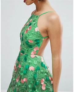 Asos Salon Floral Embroidered Backless Pinny Midi Prom ...