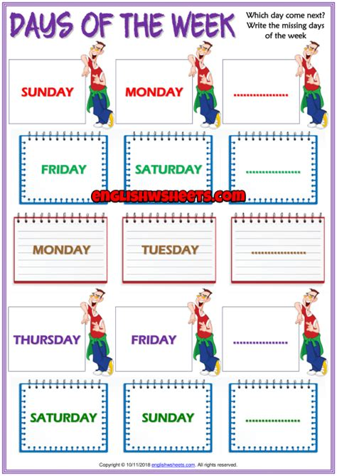 days   week esl printable gapfill exercise worksheet