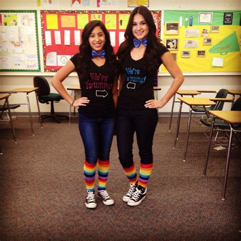 Twin day spirit week at school | My life ufe0f | Pinterest | Spirit weeks Schools and Twin
