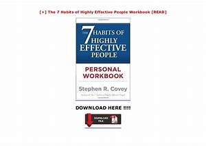 The 7 Habits Of Highly Effective People Workbook  Read