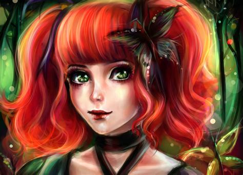 painting art butterfly redhead girl hair face glance