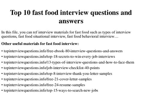 top  fast food interview questions  answers