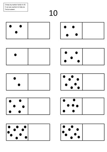 number bonds to 10 dominoes worksheet number bonds 5 and 10 tangie number bonds