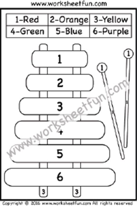 color  number xylophone  worksheet