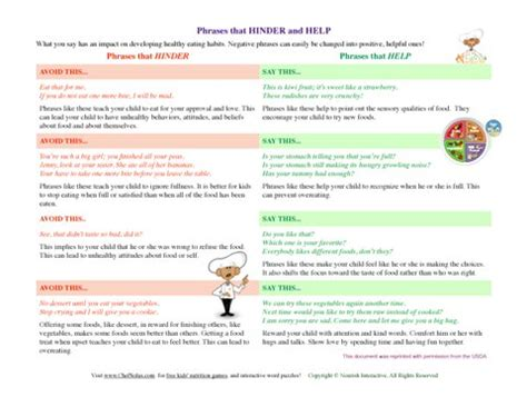 chef solus healthy kids positive food phrases parenting