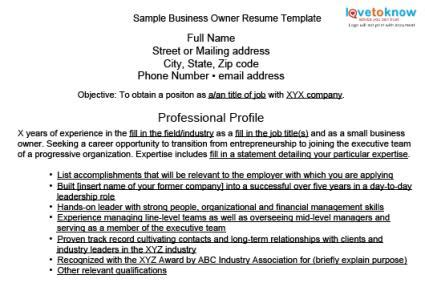 Sample Business Owner Resumes  Lovetoknow. Resumes For Jobs. Resume In Mechanical Engineering. Performance Resume. Email For Resume And Cover Letter. Objective Of Resume For Internship. What To Write On A Resume. What Font Is Appropriate For A Resume. Do Resumes Need To Be One Page