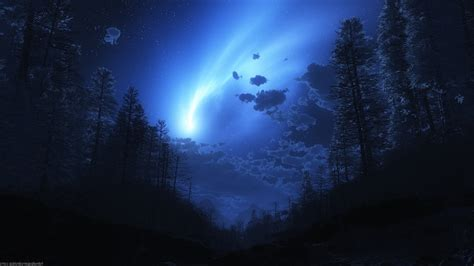Starry Sky Anime Wallpaper - landscape anime digital forest trees