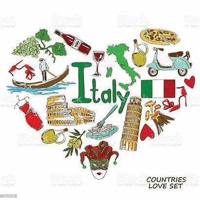 Italian Symbols Heart Shape Concept Illustration Italy
