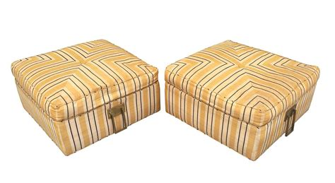 square ottoman with casters pair of 1960s square ottomans in casters and solid brass