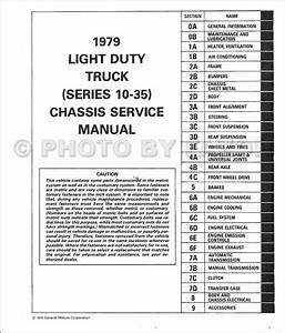 1979 Chevy Truck Shop Manual Pickup Van Blazer Suburban