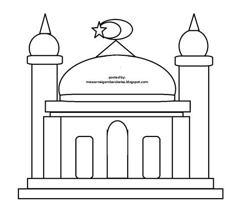 gambar gambar masjid mewarnai hitam putih di