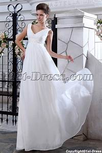 simple v neckline chiffon empire maternity wedding dresses With simple maternity wedding dresses