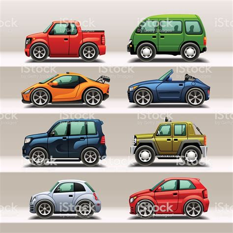 Illustration Of Eight Different Cars In All Shapes Sizes