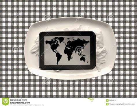 tablet  world map stock photo image  empty fork