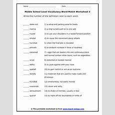Middle School Level Vocabulary Word Match Worksheet 3