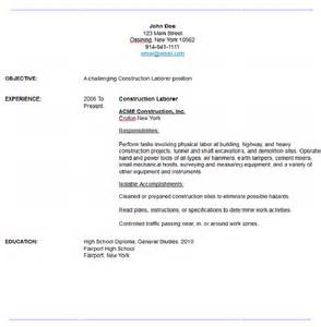 construction laborer resume exles sle contruction laborer resume resume maker resume software