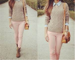 Autumn cold cute fall fashion girly jumper outfit pink pretty style tumblr vintage ...