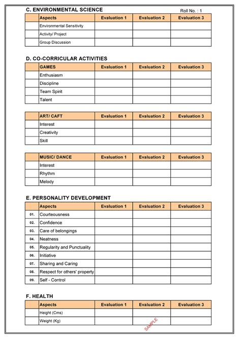 cbse report card format  primary classes