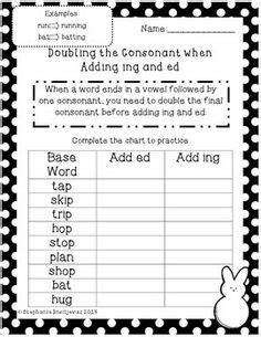 Adding Ing And Eddouble Final Consonants  Spelling  Pinterest  Grammar, First Grade Lessons