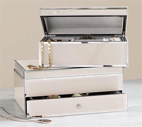 mirrored glass jewelry box josie mirrored large jewelry box pottery barn 7534