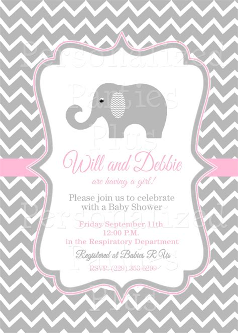 baby shower elephant template pink and grey elephant baby shower invitations pink and