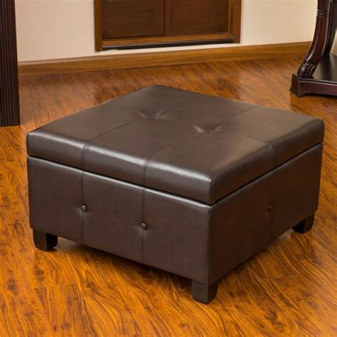 Using An Ottoman As A Coffee Table by Brown Leather Storage Ottoman Coffee Table W