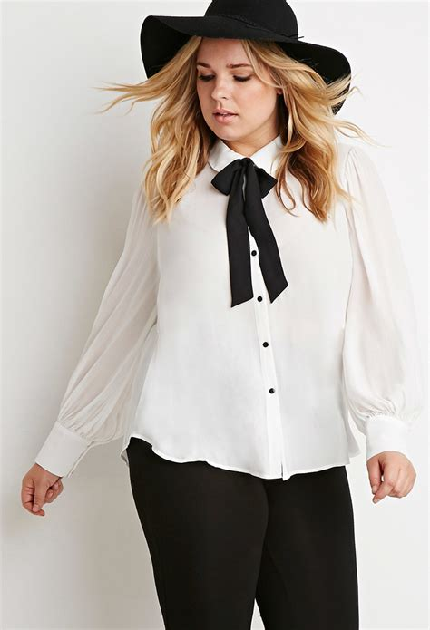 black tie neck blouse lyst forever 21 plus size colorblocked self tie neck
